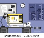 interior of working place... | Shutterstock .eps vector #228784045