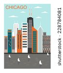 stylized chicago city in bright ... | Shutterstock .eps vector #228784081