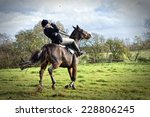 Small photo of Horse rider falling off horse