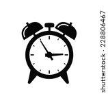 Vector Black Alarm Clock Icon...