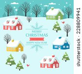 christmas greeting card design... | Shutterstock .eps vector #228809941
