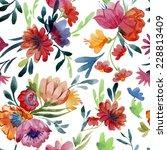 pattern  watercolor  flowers   Shutterstock .eps vector #228813409