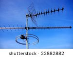 Television Antennas On Blue...