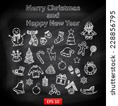 happy new year and merry... | Shutterstock .eps vector #228856795