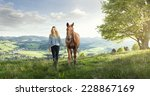 Stock photo beautiful girl with a horse in the german mountains 228867169