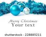 christmas card with blue balls... | Shutterstock . vector #228885211