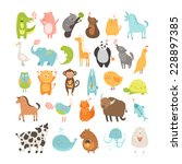 cute cartoon animals collection.... | Shutterstock . vector #228897385
