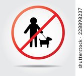 Stock vector persons walk pet dog icons no dogs crossing 228898237