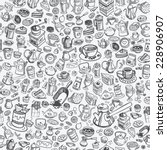 pattern with hand drawn coffee... | Shutterstock .eps vector #228906907