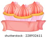 cupcakes with pink blank label | Shutterstock .eps vector #228932611