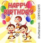 happy birthday with a monkey... | Shutterstock .eps vector #228932695