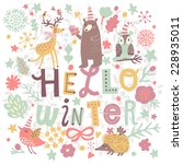 hello winter concept card.... | Shutterstock .eps vector #228935011