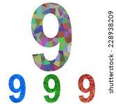 mosaic font design set   number ... | Shutterstock .eps vector #228938209