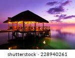 Water Cafe At Sunset   Maldives ...