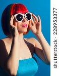 beautiful woman wearing... | Shutterstock . vector #228953377