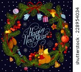 happy new year. christmas card. ... | Shutterstock .eps vector #228954034