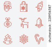 christmas icons  thin line...