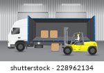 vector of forklift working with ... | Shutterstock .eps vector #228962134