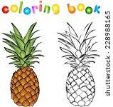 cartoon pineapple coloring book.... | Shutterstock .eps vector #228988165