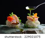 fine dining  fresh raw ahi tuna ... | Shutterstock . vector #229021075