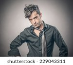 portrait of messy and nervous... | Shutterstock . vector #229043311