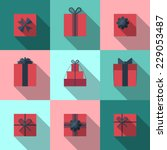 flat gift box icon set with...