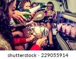 happy girls having fun in limo  ... | Shutterstock . vector #229055914