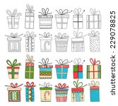 set of gift packages  christmas ... | Shutterstock .eps vector #229078825