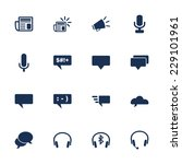 Set of icons for communication and connection in flat style - stock vector
