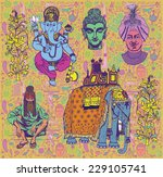 collection of isolated indian... | Shutterstock .eps vector #229105741