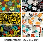 set of retro cards with birds... | Shutterstock .eps vector #229112104
