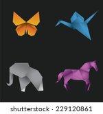 origami butterfly  crane ... | Shutterstock .eps vector #229120861
