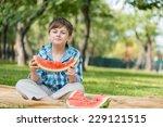 cute boy eating juicy... | Shutterstock . vector #229121515