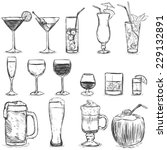 vector set of sketch cocktails... | Shutterstock .eps vector #229132891