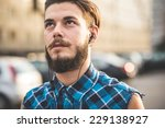 young handsome bearded hipster... | Shutterstock . vector #229138927