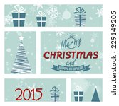 blue christmas card with window.... | Shutterstock .eps vector #229149205