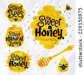 watercolors honey symbols... | Shutterstock .eps vector #229150975