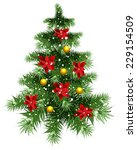 fluffy green christmas tree... | Shutterstock .eps vector #229154509