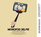 monopod selfie self portrait... | Shutterstock .eps vector #229155577