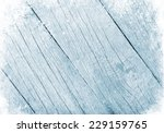 Blue Wood Texture With Snow...