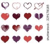 vector set of sketch hearts | Shutterstock .eps vector #229178185