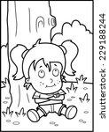 a happy cartoon girl sitting... | Shutterstock .eps vector #229188244