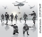 squad of soldiers during the... | Shutterstock .eps vector #229197649