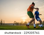 Two female soccer players on...