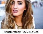 close up fashion portrait of... | Shutterstock . vector #229215025
