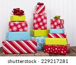 a stack of christmas presents... | Shutterstock . vector #229217281