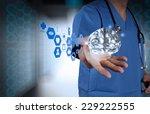 doctor neurologist hand show... | Shutterstock . vector #229222555