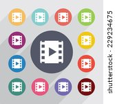 media  flat icons set. round... | Shutterstock . vector #229234675
