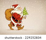 santa claus walking with sack... | Shutterstock .eps vector #229252834
