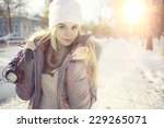 winter portrait of young girl... | Shutterstock . vector #229265071
